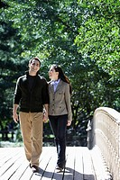 Couple walking on footbridge