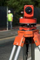 Road improvement scheme. Detail of a theodolite