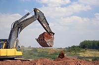Excavator working on a contaminated land remediation