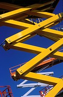 Detail of various scissor lift platforms