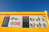 Safety and warning signs on dumper
