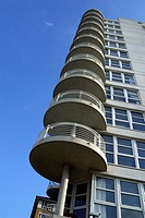 Round shaped balconies on the edge of a residential building
