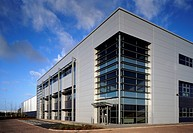 Exterior of new factory in business park. UK