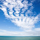 Scenic view of horizon with blue sky and cloud texture over water