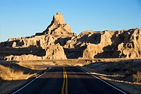 Scenic roadway in Badlands National Park, South Dakota.