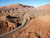 Scenic highway through desert landscape of Utah, USA