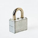 Metal locked padlock