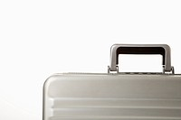 Detail of handle on silver briefcase