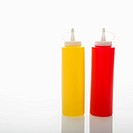 Plastic ketchup and mustard containers