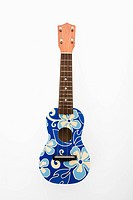 Ukulele painted with blue flowers in Hawaiian pattern