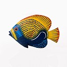 Colorful painted fish sculpture