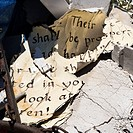Pages of old weathered bible verse lying in junkyard