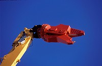 Detail of pulveriser attachment on hydraulic arm
