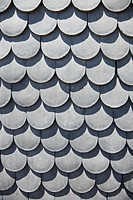 Close_up of rooftop with scale shaped shingles in Lisbon, Portugal
