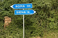 Italian street signs with overgrown vegetation pointing to Rome and Siena