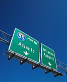 Highway sign for I_85 North to Atlanta, Georgia and the Atlanta Airport