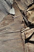 Old twisted corrugated metal