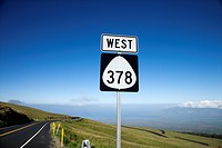 Highway 378 West road sign in Haleakala National Park, Maui, Hawaii