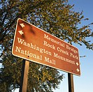 Sign giving directions to landmarks in Washington, D.C., USA