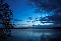 Blue Sky, Calm, Clouds, Lake