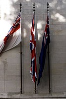 Brick Wall, Day, Flag Post, In Front Of, National Flag