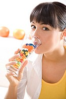 woman drinking vitamins