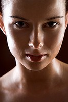 close up of young woman face