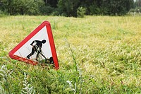 Sign Board, Caution, Close-Up, Grass, Green (thumbnail)