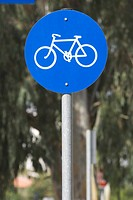 Bicycle, Blue, Circle, Close_Up, Crossing Sign