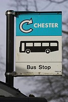 Bus Stop, Day, Close_Up, Capital Letter, Arrow Sign