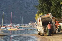 Boat, Coast, Day, Dump Truck