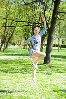 Girl jumping in the park