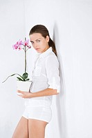 Young woman with orchid (thumbnail)