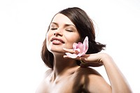 Young woman with pink orchid (thumbnail)