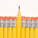 Sharp pencil raised above row of pencils with eraser ends up