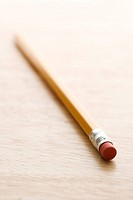Selective focus of eraser end of pencil