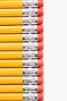 Eraser ends of group of pencils lined up in an even row (thumbnail)