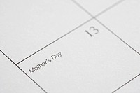Close up of calendar displaying Mothers Day