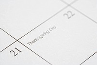 Close up of calendar displaying Thanksgiving Day (thumbnail)