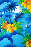 Close_up of bright blue Hawaiian vintage fabric with orange hibiscus flowers printed on polyester.