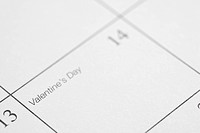 Close up of calendar displaying Valentines Day