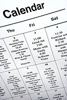 Close_up of calendar of events at retirement community center