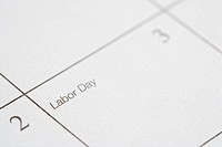 Close up of calendar displaying Labor Day