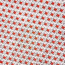 Close_up of vintage fabric with repetitive red cube designs printed on polyester