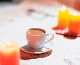 newspaper, coffee, candlelight, candle, teacup, aromatic, tea