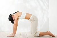 woman training yoga