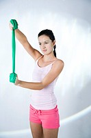 woman training with exercise band