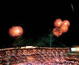 scenery, cityview, fireworks, stadium, nightview, nature