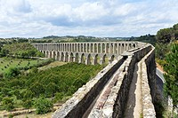 View of top of Pegoes Aqueduct, Tomar, Portugal