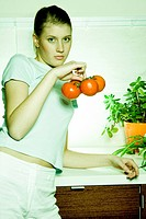 woman with tomatos